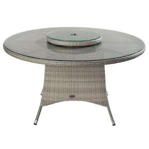 2019 Hartman Curve 6 Seat Round Garden Dining Set With Lazy Susan - Cool Grey / Charcoal table with raised centre on white background