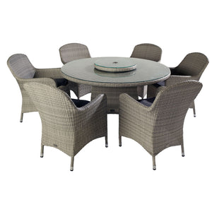 2019 Hartman Curve 6 Seat Round Garden Dining Set With Lazy Susan - Cool Grey / Charcoal table and chairs on white background
