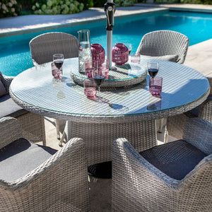 2019 Hartman Curve 6 Seat Round Garden Dining Set With Lazy Susan - Cool Grey / Charcoal pink drinks on table with pool in background