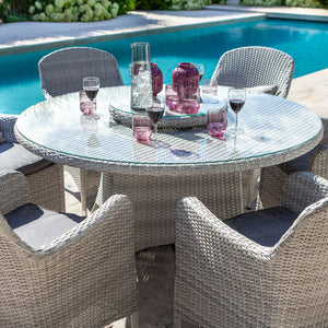 2019 Hartman Curve 6 Seat Round Garden Dining Set With Lazy Susan - Cool Grey / Charcoal with glasses on table and pool in background