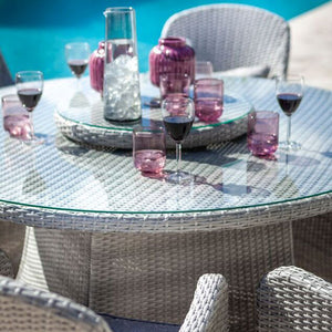 2019 Hartman Curve 6 Seat Round Garden Dining Set With Lazy Susan - Cool Grey / Charcoal close up of pink glasses on table