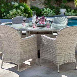 2019 Hartman Curve 6 Seat Round Garden Dining Set With Lazy Susan - Cool Grey / Charcoal close up of chairs and table on patio