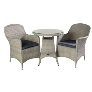 2019 Hartman Curve Garden Bistro Set - Cool Grey / Charcoal table and chairs on white background