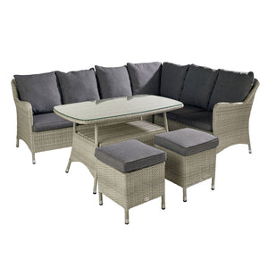 2019 Hartman Curve Rectangular Casual Garden Dining Table Set - Cool Grey / Charcoal table with sofa and stools on white background