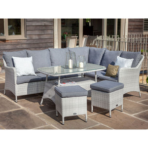 2019 Hartman Curve Rectangular Casual Garden Dining Table Set - Cool Grey / Charcoal on patio in front of wooden house