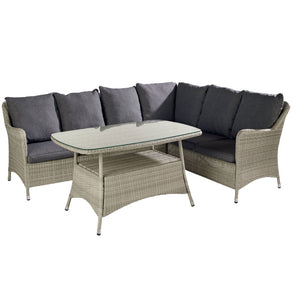 2019 Hartman Curve Rectangular Casual Garden Dining Table Set - Cool Grey / Charcoal table and sofa on white background