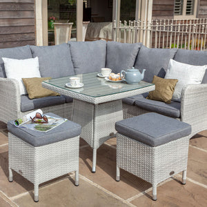 2019 Hartman Curve Square Casual Garden Dining Table Set - Cool Grey / Charcoal on patio with teapot and cups on table