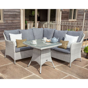2019 Hartman Curve Square Casual Garden Dining Table Set - Cool Grey / Charcoal on patio in front of wooden house
