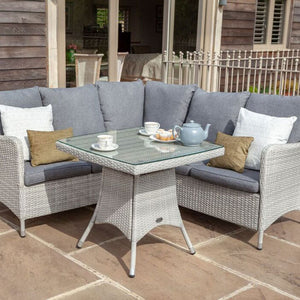 2019 Hartman Curve Square Casual Garden Dining Table Set - Cool Grey / Charcoal