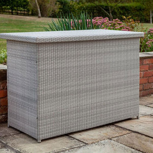 Closed Cool Grey 2019 Hartman Curve / Linear Outdoor Cushion Storage Box In Situ