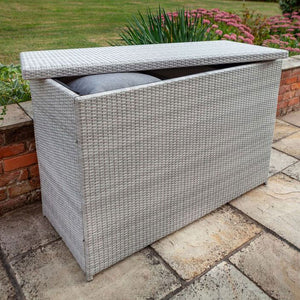 Opened Cool Grey 2019 Hartman Curve / Linear Outdoor Cushion Storage Box In Situ