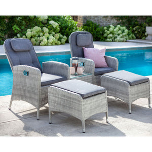 2019 Hartman Curve Reclining Garden Chair Companion Set - Cool Grey / Charcoal chairs and stools on patio next to pool with plants in background