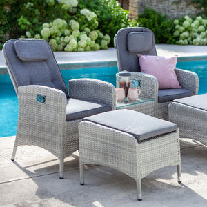 2019 Hartman Curve Reclining Garden Chair Companion Set - Cool Grey / Charcoal on patio next to pool with plants in background