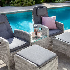 2019 Hartman Curve Reclining Garden Chair Companion Set - Cool Grey / Charcoal close up of chairs with pool in background
