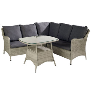 2019 Hartman Curve Square Casual Garden Dining Table Set - Cool Grey / Charcoal on white background