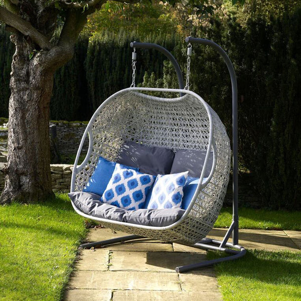 2019 Bramblecrest Monterey Double Hanging Cocoon Chair With Charcoal Cushions