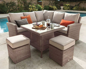 2018 Hartman Essential Corner Sofa Set with Square Table - Light Brown - in garden
