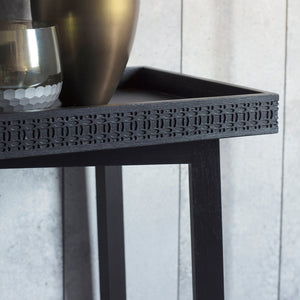 Chic Black Console Table corner detail with vase on top