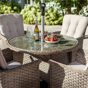 2019 Hartman Heritage 4 Seat Round Garden Dining Table Set - Beech/Dove close up of table and chairs with wine and strawberries on table