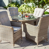 2019 Hartman Heritage 4 Seat Round Garden Dining Table Set - Beech/Dove table and chairs with wine and strawberries on table