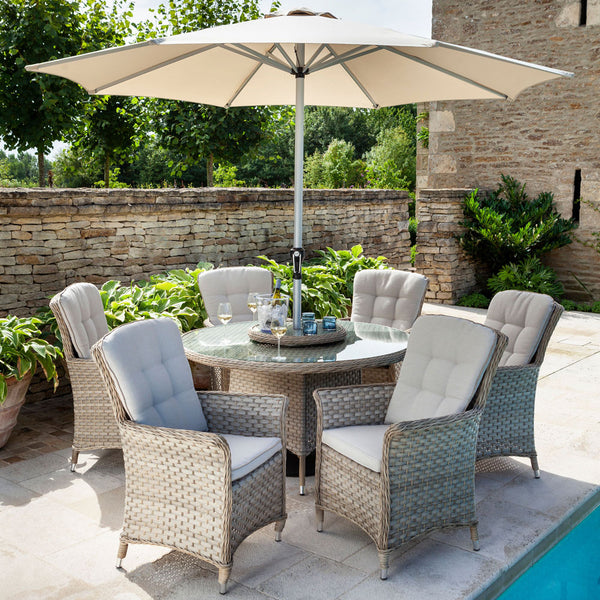 2019 Hartman Heritage 6 Seat Round Garden Dining Set with Lazy Susan - Beech/Dove on patio next to pool with brick house and wall in background