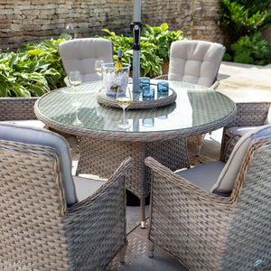 2019 Hartman Heritage 6 Seat Round Garden Dining Set with Lazy Susan - Beech/Dove chairs and table with wine and glasses