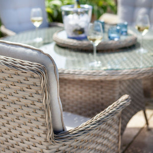 2019 Hartman Heritage 6 Seat Round Garden Dining Set with Lazy Susan - Beech/Dove close up of chair with table in background with wine and glasses