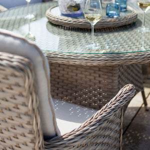 2019 Hartman Heritage 6 Seat Round Garden Dining Set with Lazy Susan - Beech/Dove close up of chair and table