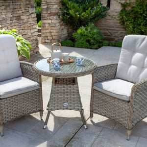 2019 Hartman Heritage Garden Bistro Set - Beech/Dove on patio with glasses on table