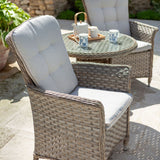 2019 Hartman Heritage Garden Bistro Set - Beech/Dove on patio with chairs and glasses on table