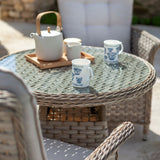 2019 Hartman Heritage Garden Bistro Set - Beech/Dove close up of table with teapot and cups on table