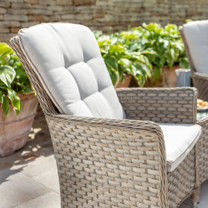 2019 Hartman Heritage Duet Garden Coffee Table Set - Beech/Dove single chair in front of brick wall and plants
