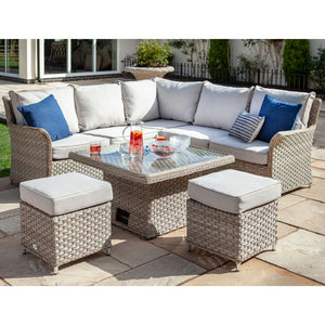 Beech/Dove 2019 Hartman Heritage Square Casual Adjustable Garden Dining Table Set In Situ