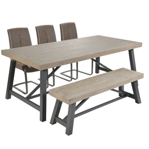 Urban Dining Table, 3 chairs and bench