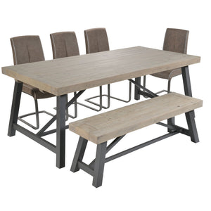 Urban extending dining table with bench and 4 chairs