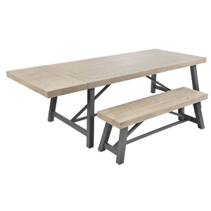 Urban Extending Dining Table with Extension Leaf and Bench