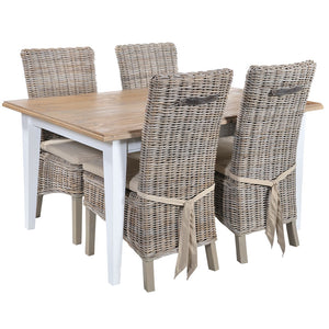 Rowico Classic Brown & White 6-Seater Pine Dining Table with 4 Rowico Natural Rattan Dining Chairs