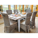Classic Dining Table with 6 Rattan Chairs