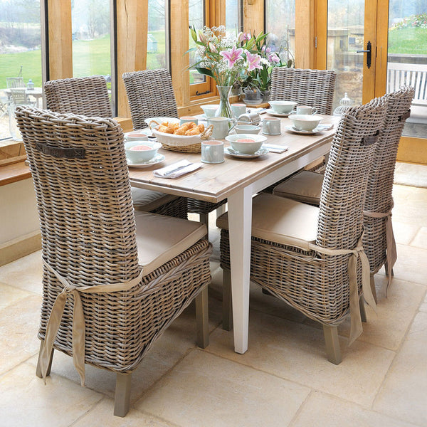 Classic Extending Dining Table with Rattan Chairs