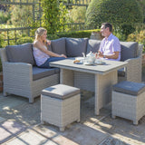 2019 Kettler Palma Casual Dining Mini Corner Set with 2 people seated