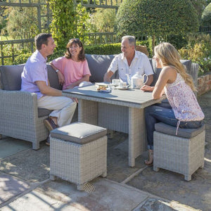 2019 Kettler Palma Casual Dining Mini Corner Set close up with 4 people seated