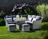 Bramblecrest Monterey Sofa Set With Mini Glass Adjustable Table & Stools with scatter cushions