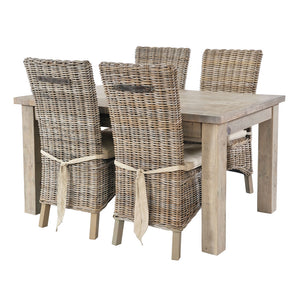 Cotswold dining set with 4 rattan chairs