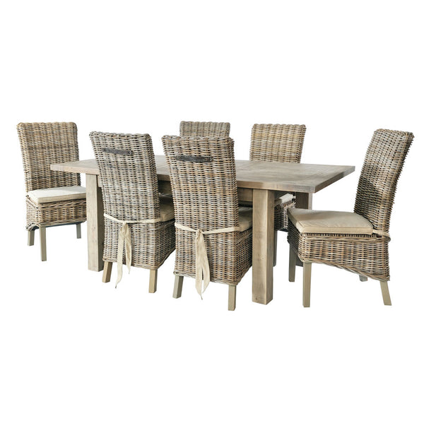 Cotswold Dining Set with 6 Rattan Chairs