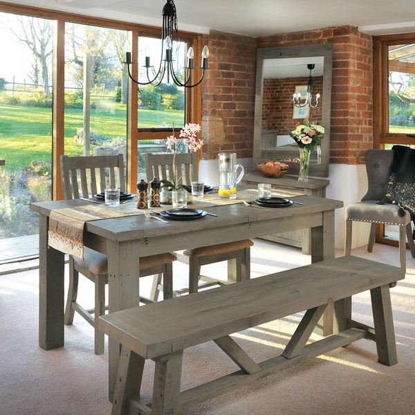 Cotswold Dining Set with 4 Cotswold Chairs and Large Bench (1.8m)