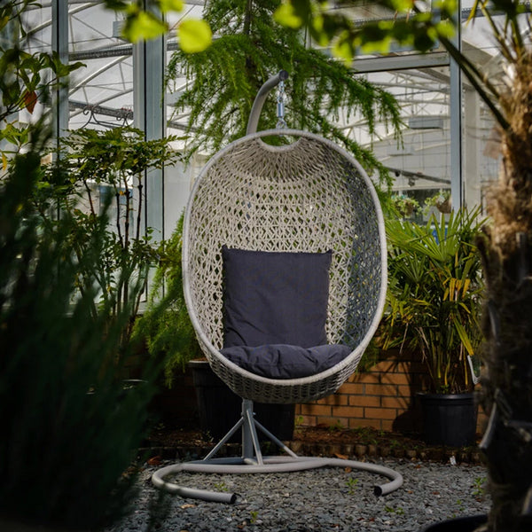 Bramblecrest Bredon Hanging One Person Cocoon/egg chair with Graphite Cushions - wide angle