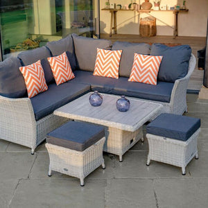 2019 Bramblecrest Monterey Outdoor Sofa Set With Adjustable Garden Dining Table close view on patio in front of house
