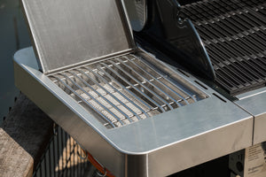 Grillstream Stainless Steel Gas BBQ 4 Burner close up of steak shelf