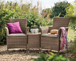 2018 Hartman Appleton 2 Seat Duet Set - Light Brown - in garden