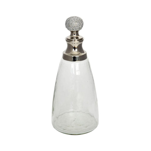 Glass decanter with crystal stopper side view